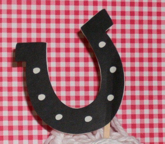 6 Horseshoe Cupcake Toppers only 4.20 ... READY TO SHIP ... mix N match w/ other cowboy toppers or farm toppers