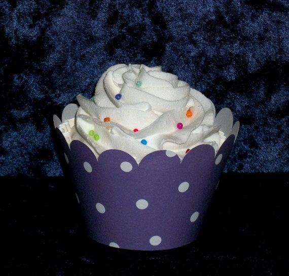 Purple Polka Dot Cupcake wrappers ...Grape  Holder Wrap ...12 count READY TO SHIP