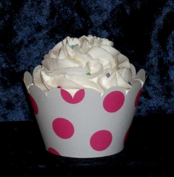 Large Hot Pink Polka Dot Cupcake wrappers ... Deep Pink  Holder Wrap ...12 count ... Fuschia READY TO SHIP