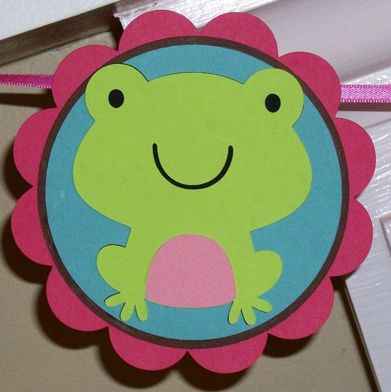 CLEARANCE Baby Shower Banner Welcome Baby Frog Banner ... READY to SHIP ... Teal Lime Green Pink