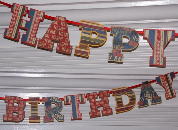 Happy Birthday Letter Banner ... Cowboy Western Theme  ... adjustable ... with 48 coordinating cupcake wrappers reserved for Lindseyrenae