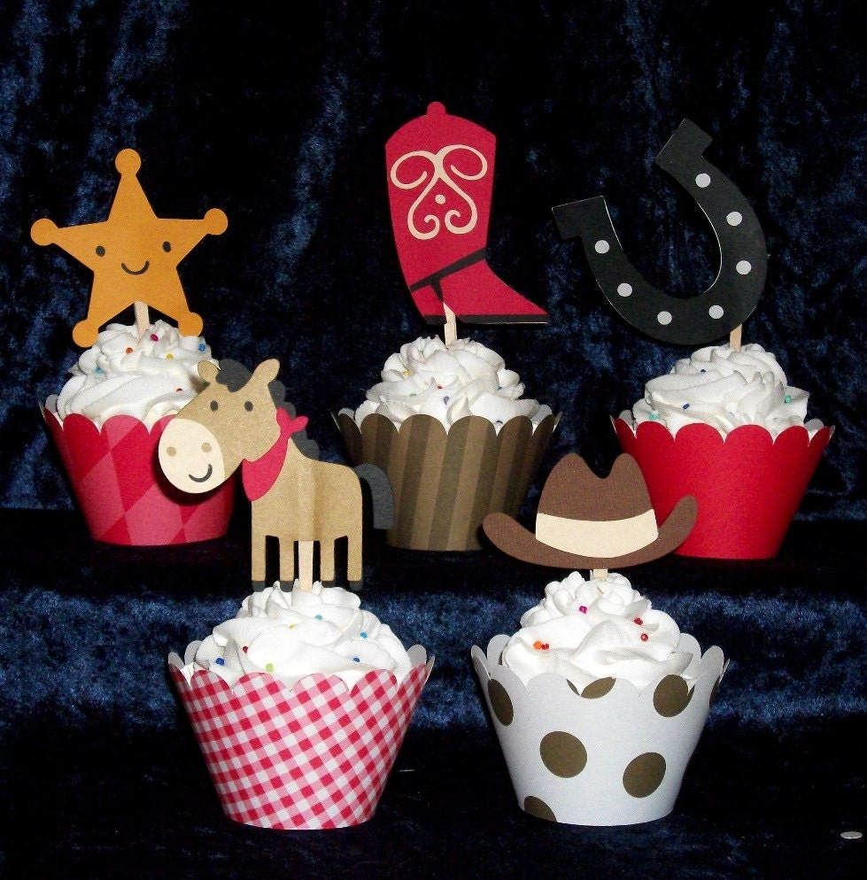 40 cowboy cupcake toppers western picks and wrappers