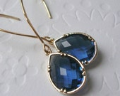 Modern Jewelry Earrings Jewel Tones, Gold framed sapphire glass on long marquise earrings   Fall wedding-Fall Fashion
