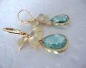 Mint orchid jewelry, mint jewelry, orchid jewelry, wedding orchid jewelry, floral jewelry with orchid,mint jewelry