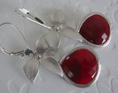 Red glass dangle earrings Drop earrings Bridesmaid jewellery, wedding jewelry Leverback earrings Mothers Day Jewelry