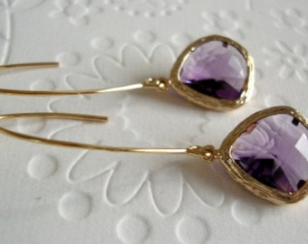 Gold Amethyst Earrings, gold earrings amethyst, Amethyst earrings gold, Long earrings Amethyst, Purple Amethyst Dangle Earrings