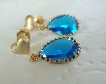 Gold earrings, heart studs earrings, gold studs earrings, gold and blue earrings, Capri blue earrings, blue drop earrings, drop earrings,