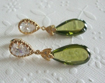 Dangle earrings Sparkly bright jewelry Olive zirconia earrings Jewelry Bridesmaids gift