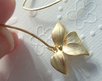 dangle earrings Office fashion  Gold orchid flower on 14 kt Vermeil gold marquise earrings Bridesmaid gift