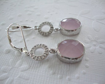 dangle earrings Preppy Pastel pink jewelry with ice pink glass Blush Wedding jewelry, Bridesmaid gift