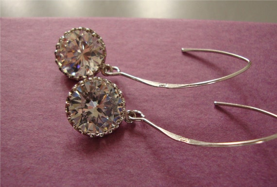 Long Earrings, Sparkly dangle earrings with cubic zirconia cz and sterling silver marquise Wedding Jewelry / Hoop earrings,