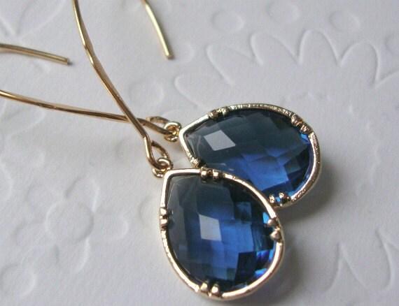 Modern Jewelry Earrings Jewel Tones, Gold framed sapphire glass on long marquise earrings   Fall wedding-Fall Fashion