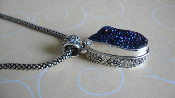 RESERVED Statement necklace Stunning Druzy Jewelry pendant inlaid in 925 Bali silver Special gift for her