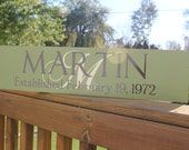 Custom Family Sign: Last Name with Monogram and Established Date - Great Wedding, Anniversary or Housewarming Gift