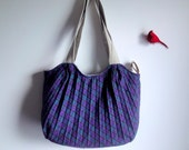 Upcycled Tote, Eco-Friendly Wool Carry-All, Plaid Geometric Weekender