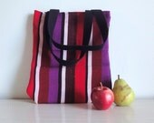 Upcycled Market Bag, Striped Eco-Friendly Tote, Grocery Bag