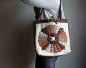 Upcycled Tote, Vintage Quilt Top Large Bag, Hand Quilted Eco-friendly Purse - betsyandbess