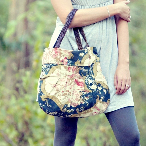 Floral Pleated Shoulder Bag with Eco-Friendly Straps, Upcycled Purse