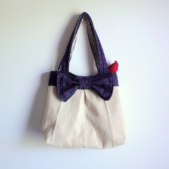 Free Shipping Upcycled Purse with Bow, Geomtric Wool and Corduroy Tote, Eco-friendly Cream Shoulder Bag