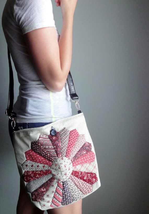 Upcycled Crossbody Bag, Vintage Quilt Top Hip Bag, Hand Quilted Eco-friendly Crossbody Purse