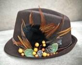 Sale / Brown Fedora ,Unique vintage style women hat