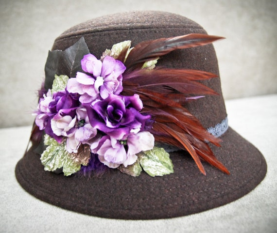 Sale / Womens Cloche hat  felted wool  brown hat with purple flowers laidies headpiece