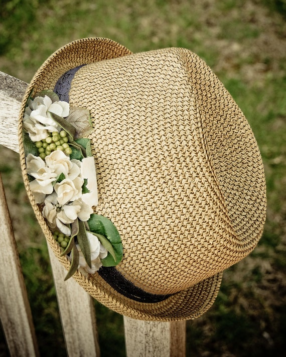 Sale, Sun straw hats for women, floral hats, Natural fedora with white flowers