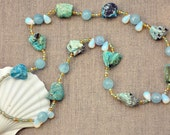 Spring Summer Sea Breeze - Natural Chrysacolla, Opalite, Blue Quartz  & Pastel Shades Seed Bead Necklace