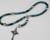 Rosary Chinese Turquoise with Lead Free Pewter Peads
