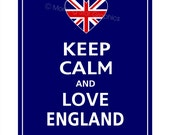 Keep Calm and LOVE ENGLAND Print 11x14 (Deep Navy featured)