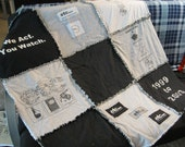 Custom T-Shirt Keepsake Memory Quilt with Flannel Back: 9 Shirts Lap Quilt or Throw Blanket