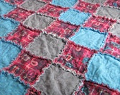 """Hot Pink Paisley Plaid and Denim Rag Quilted Blanket 48""""x54"""" (121.9x137.2 cm)"""