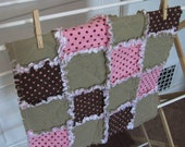 Pink and Chocolate Brown Security Blanket Mini Quilt  16x16 inches 40x40cm READY TO SHIP
