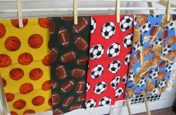 Sports Themed Printed Cotton Flannel Bundle of 4 Fat Quarters--READY TO SHIP