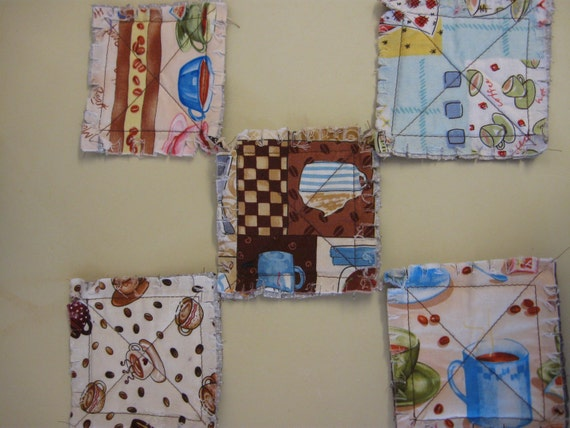 Set of 5 Retro 1950s Fabric Quilted Coasters