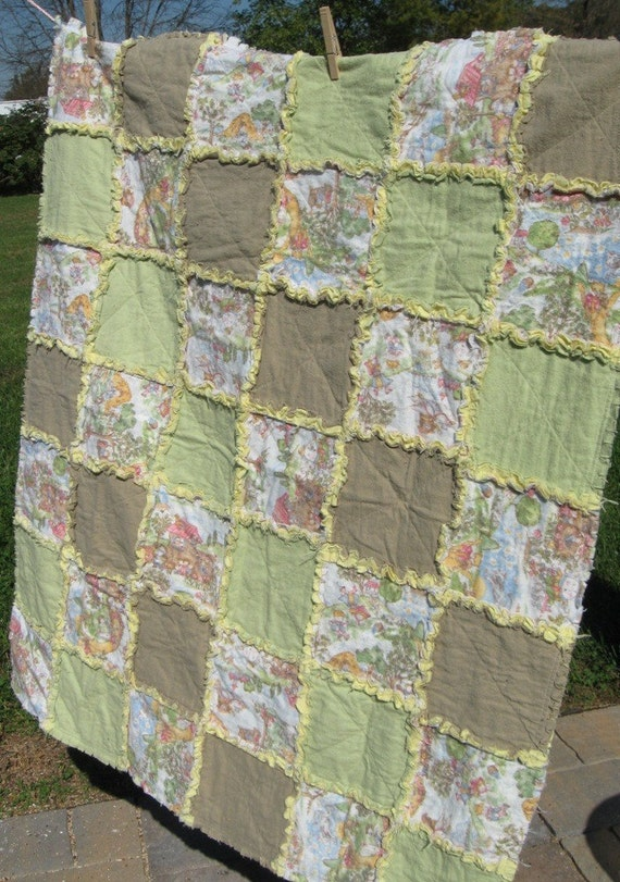 Mother Goose Baby Blanket Rag Quilt  36x42 in 91x106 cm READY TO SHIP