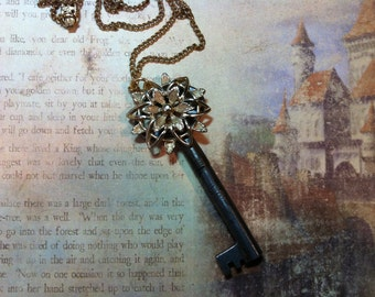 Key to the Secret Garden Vintage Skeleton Key Necklace OOAK