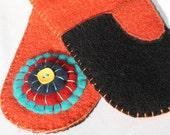 Orange Recycled Wool Mittens
