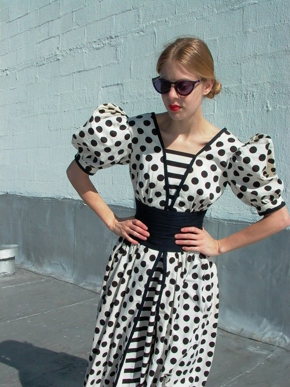 Polka Dot Dress, vintage 80s sz. s/m