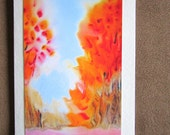 Orange Pink Autumn Trees Abstract Greeting Card Autumn Resonance