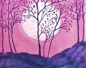 Abstract Purple Pink Asian Cherry Trees Moon 5 x 7  Signed Giclee Art Print