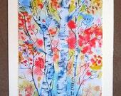 Autumn Trees Abstract Greeting Card Autumn Blush