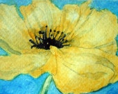 GICLEE PRINT Yellow Poppy 5 x 7 Signed Art Print