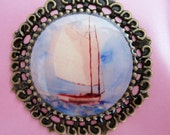 Magnet Sailboat Okanagan Lake Antique Bronze Round Art
