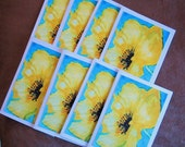 Set of 8 Yellow Poppy Floral Small Notecards Boxed Gift Set