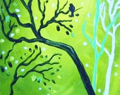 Raven Green Abstract ACEO Giclee Limited Edition Print  by Karen J. Kolnes Waiting