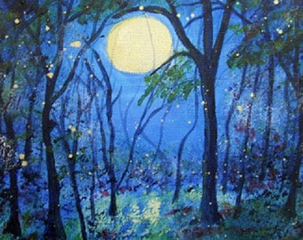 Fireflies Moonlight Blue Moon Signed Art Print Midnight Blue Forest  GICLEE PRINT 5 x 7