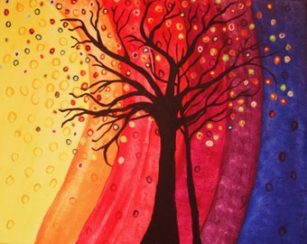 GICLEE PRINT  Rainbow Tree Abstract 8 x 10  Art Print