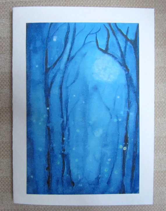 Fireflies Fog Blue Moon Abstract Greeting Card Blank