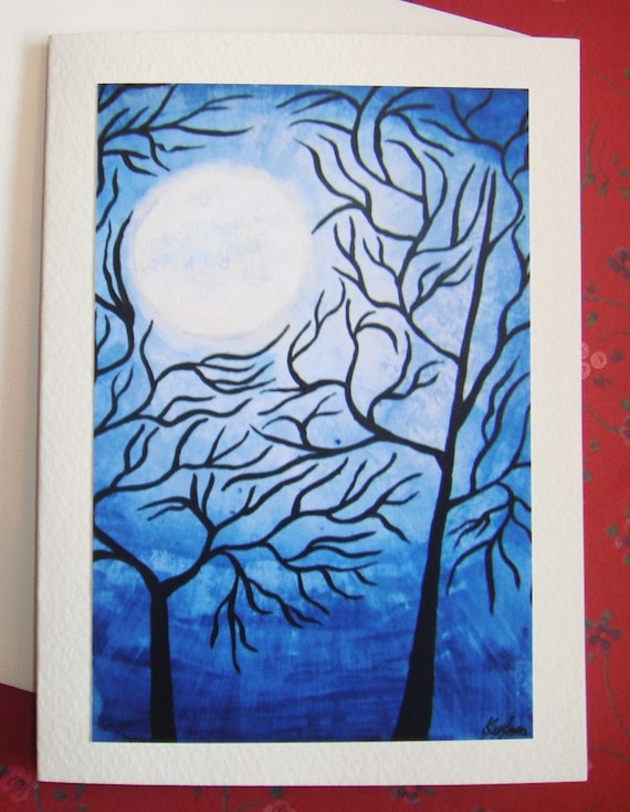 Blue Moon Abstract Tree Blank Greeting Card Once in a Blue Moon